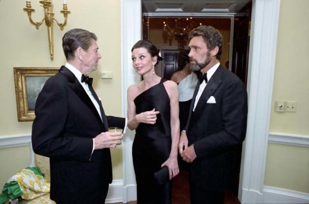 Audrey Hepburn na večeri s prezidentom Reaganom